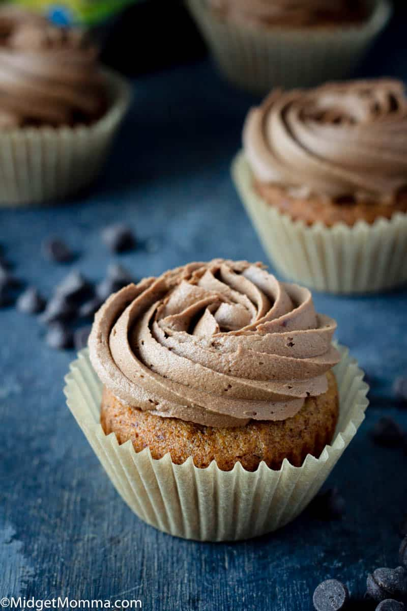 Keto Vanilla Cupcakes with chocolate buttercream frosting