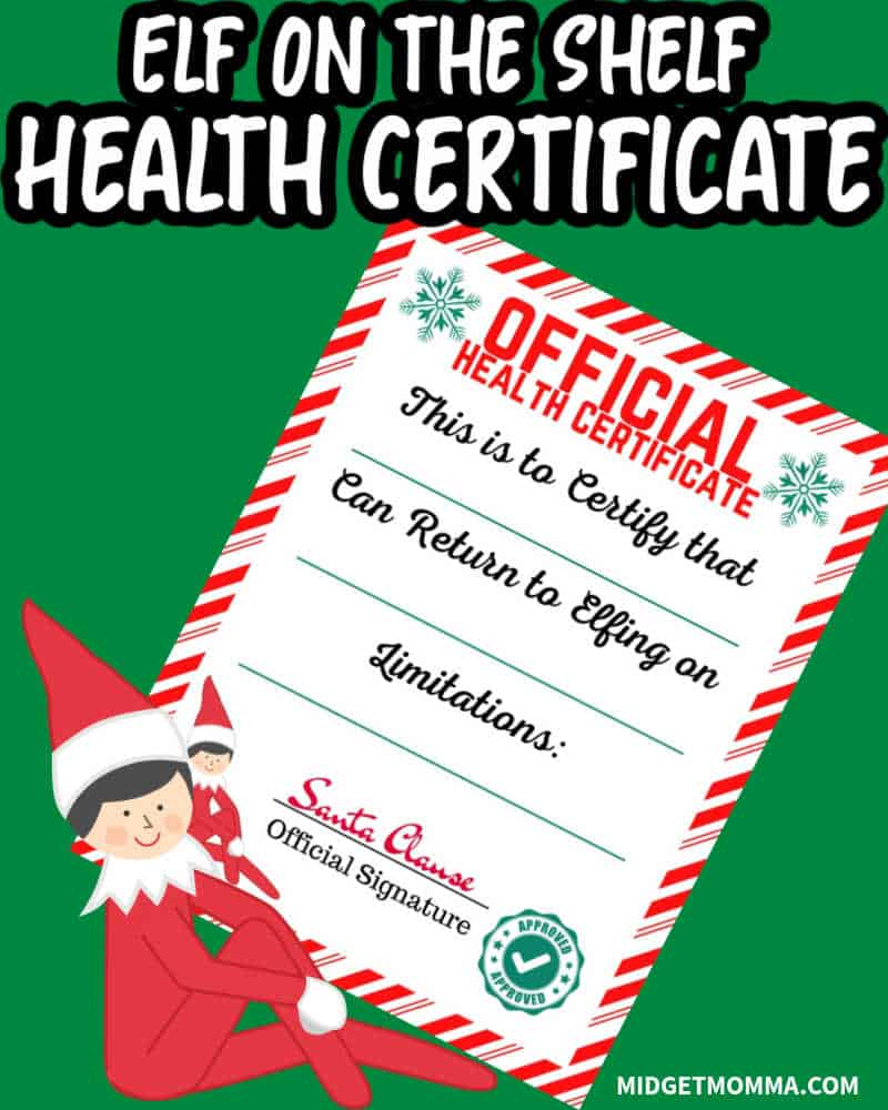 Elf on the Shelf Health Certificate