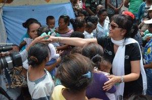 La ministre Olga Ramaroson lors de son passage hier à Antanimora. (Photo Yvon Ram)