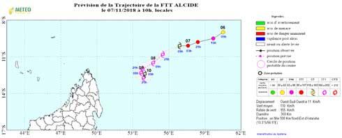 Forte tempête tropicale ALCIDE : À 825 km au nord-est d'Antalaha