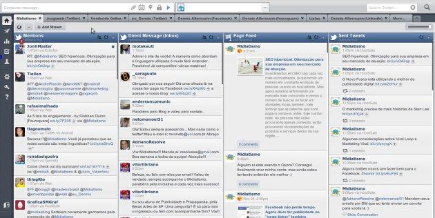 exemplo hootsuite dashboard midiatismo Qual é a melhor forma de administrar uma fan page no Facebook?