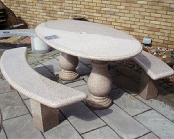 Oval Table And 2 Benches Midland Stone