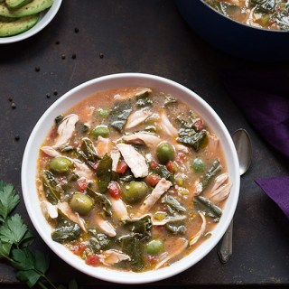 This easy chicken soup recipe has a few surprises in it. Like cauliflower rice, collard greens and juicy green olives. Healthy, budget-friendly and oh so comforting!