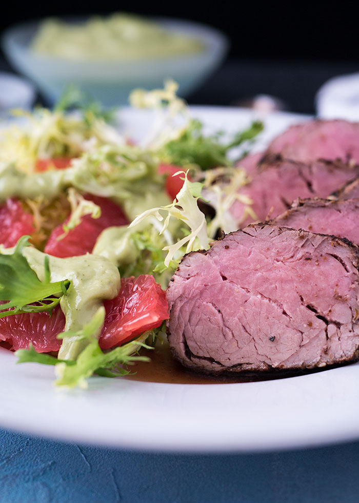Za'atar Pork Tenderloin with Grapefruit Frisée Salad