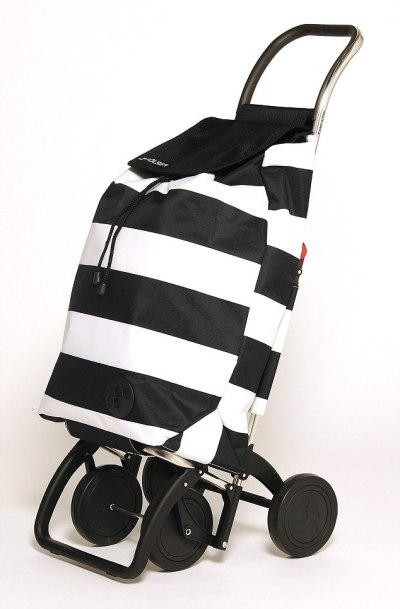 a black and white striped shopping trolley