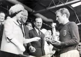 Queen Elizabeth II presenting Bobby Moore with the World Cup in 1966