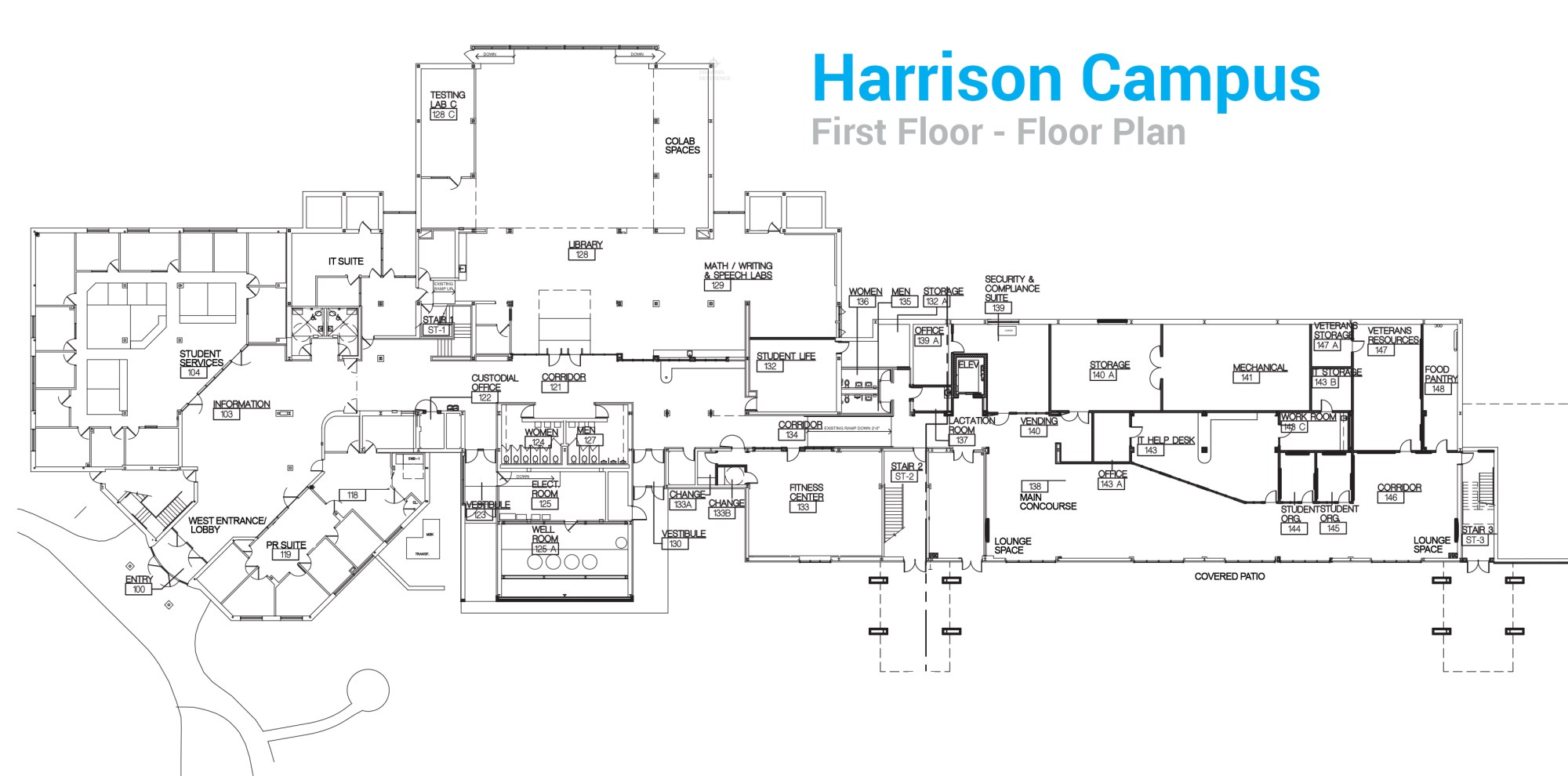 hight resolution of harrison campus first floor floor plan