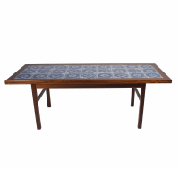 Coffee Table with Blue Tile Top - MidMod Decor