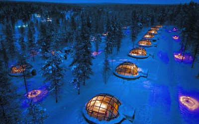 Frozen – Sleeping at the Glass Igloo Hotel in Finland.