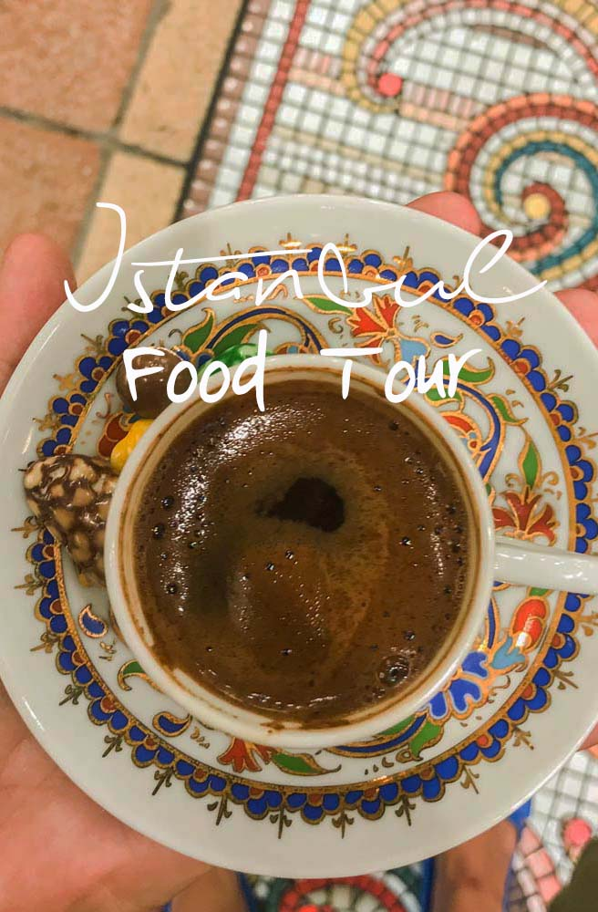 Want to eat your way through 1 city and 2 continents? Take a food tour in Istanbul and explore the best cuisine in Turkey. From baklava & simit to Turkish coffee and the one dish you shouldn't try! #istanbul #turkey #foodtour #turkishcoffee #baklava #bazaar #simit #turkishfood