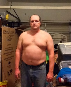 Fat guy transformation (I hope) week 3 of 15 for WHG training. Shirtless, gut hanging out, not flexed.