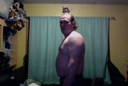 Fat guy transformation (I hope) week 1 of 15 for WHG training. Shirtless, gut hanging out, not flexed. There's a reason I no longer go anywhere without a shirt on (besides growing up ;-)