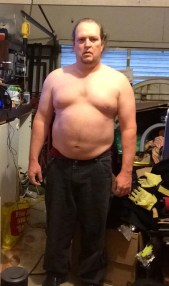 Fat guy transformation (I hope) week 4 of 15 for WHG training. Shirtless, gut hanging out, not flexed.
