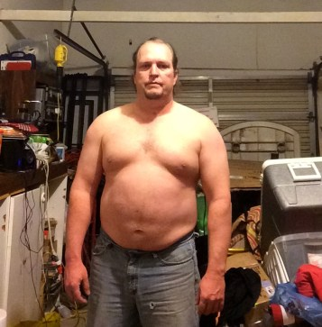 Fat guy transformation (I hope) week 5 of 15 for WHG training. Shirtless, gut hanging out, not flexed.