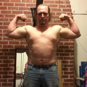 Week 7 of 15 WHG training. Shirtless, flexed. And looking fairly silly doing it.