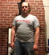 Fat guy transformation (I hope) week 7 of 15 for WHG training. Shirted, gut hanging out, not flexed.