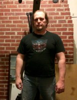 Fat guy transformation (I hope) week 8 of 15 for WHG training. Shirted, gut hanging out, not flexed.