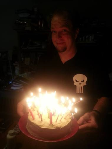 Keep your face away from the lit cake. I discovered that it actually creates a hell of an updraft!