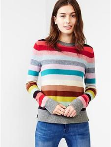 Holiday stripe wool sweater - multi stripe