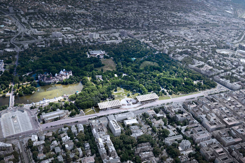 Bird's eye view of Liget Museum project in Budapest