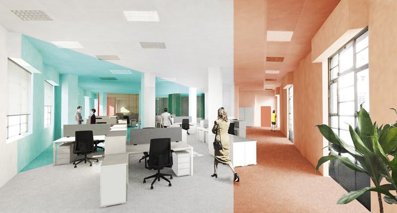Render of Cassina office space.