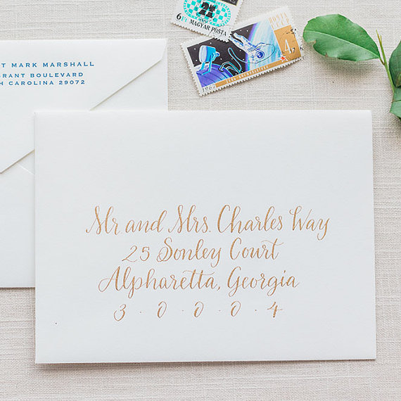 Wedding Calligraphy Envelope Addressing Gold Modern Invitations By Leen Machine Midsouthbride
