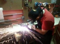 Claudio plasma cutting the barstock