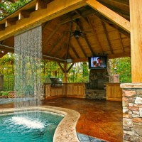 Outdoor Living Spaces With Pool And Fireplace. backyard ...