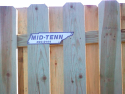 Mid Tenn Fencing Sign on Fence