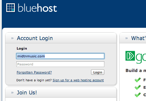 Login to your domain service provider