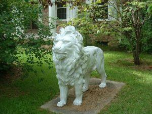 Famous cast iron lions on Haardt Drive