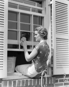 woman washing windows