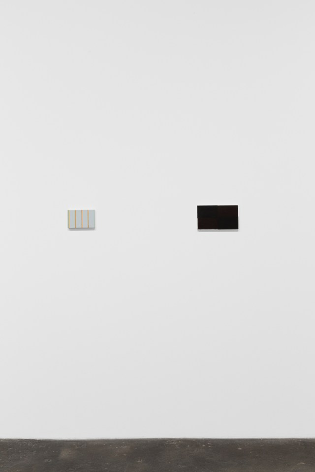 To and from home, installation view. Works left to right: MPCG, 2015. Oil on canvas. 12.3 x 18.3 x 2.3 cm; 4 ¾ x 7 ⅛ x ⅞ inches; and wrap, 2015. Oil on canvas. 16.2 x 27.3 x 2 cm; 6 ¼ x 10 ¾ x ¾ inches.