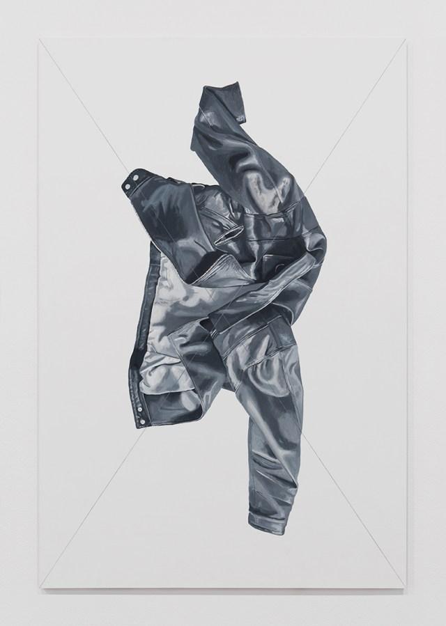 Jacket Panel (2), 2014. Acrylic and flashe on multiplex wood. 53 ⅛ x 35 ⅜ inches. © Mathew Gallery, Berlin - Photo, Gunter Lepkowski.
