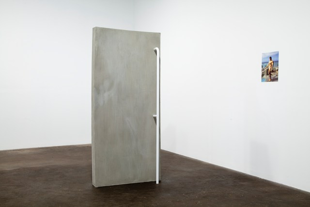 Untitled, 2010. Laser print, concrete, plywood, wood, screws, steel handrail. 16 x 11 ¼ inches and 78 x 35 x 15 inches.