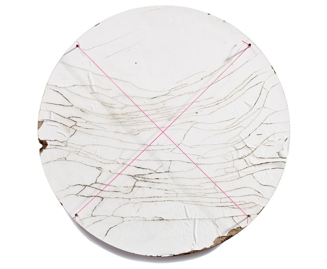 The Sun Gives Birth to the Grid (Ecstasy). 2010. Mason's line and fasteners on found object. 35 inch diameter.