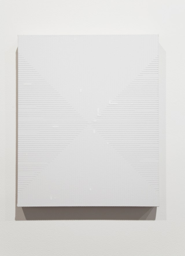 Untitled, 2009. Rustoleum flat white enamel and acrylic on linen. 18 x 22 x 2 inches.