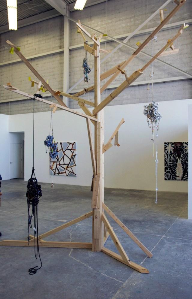 Diamond Hand Grenade, installation view. Left to right: Rebecca Morris, Anna Sew Hoy, Katherine Bernhardt.