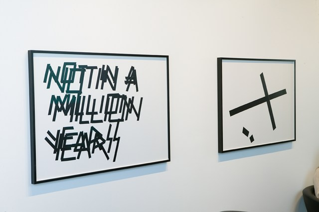 """I Don't Think So, installation view. Left: Untitled (NOT IN A MILLION YEARS), 2007. Isolation tape on paper. 33 ¼ inches x 44 inches. Right: Tape Composition #6, 2007. Isolation tape on paper. 33 ¼"""" x 44""""."""