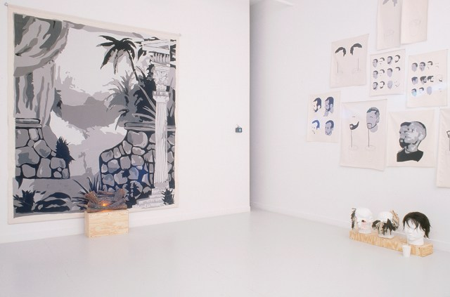 Multiplicity, installation view. Carter, left to right: Untitled (backdrop), 2001-2002. Fabric on canvas with accompanying video and camera; Before/After, 2002. Video; Drawings on cloth, 2001. Fabric on canvas; Heads, 2001. Mixed media.