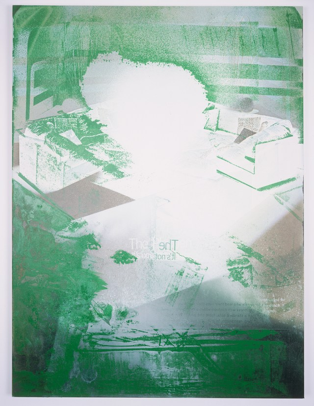 Playpen, 2004. Digital ink jet, spray paint, and silkscreen enamel on canvas. 36 x 48 inches.