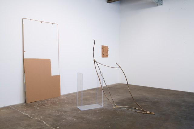 Foreground: Keep States Of Affairs, 2005/2007. Cardboard, latex paint, Plexiglas, sticks, wood glue. Background: Undeterred, 2006. Hollow-core door fragments.