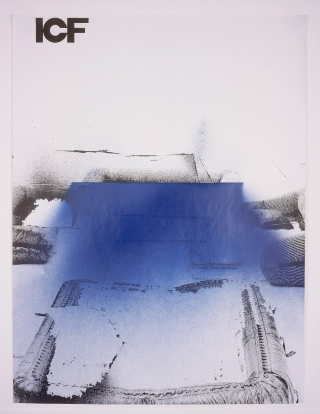 ICF, number 4, 2004. Enamel spray paint on photocopy. 23 x 30.5 inches.