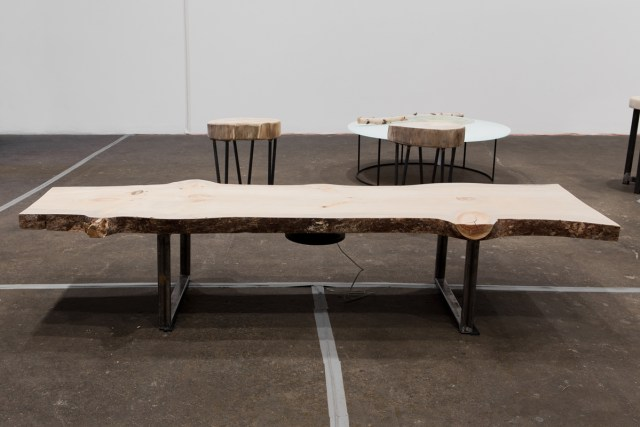 Log Tome Body, 2016. Wood, steel, transducer, amp, and mp3 player. 72 ½ x 23 x 15 inches.