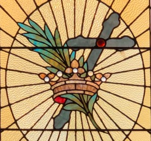 Cross and Crown from stained glass window
