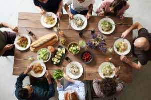 Overhead picture of a small group dinner