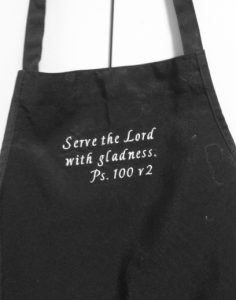 Scripture embroidered chef's apron