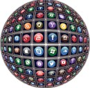 multiple social media icons as a globe