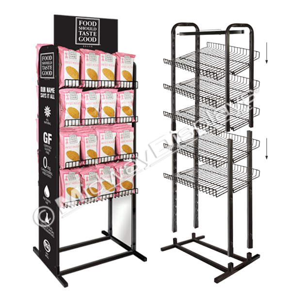 large chip bag metal wire racks dual frame with graphic panels point of purchase merchandisers by midway displays inc made in usa