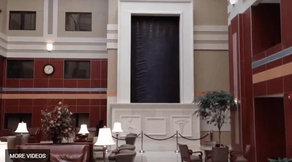 Custom Indoor Water Wall in Brown Copper Scored Finish Lobby Waterfall in Hospital